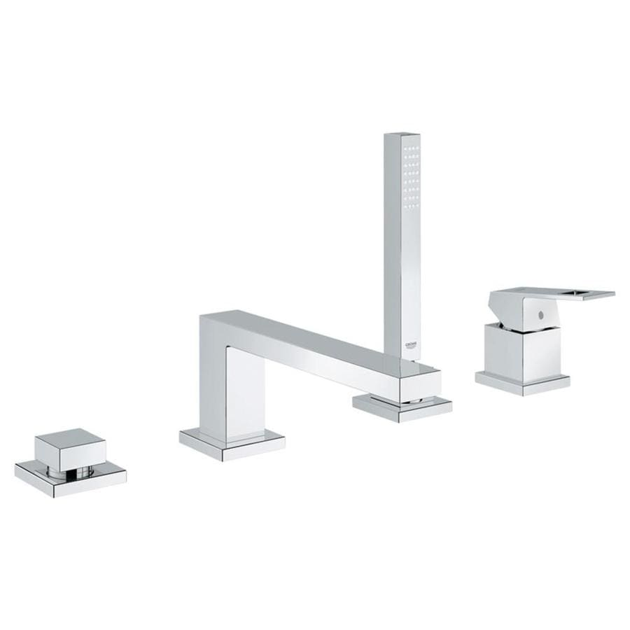 GROHE Eurocube Starlight Chrome 1-Handle Fixed Deck Mount Bathtub Faucet