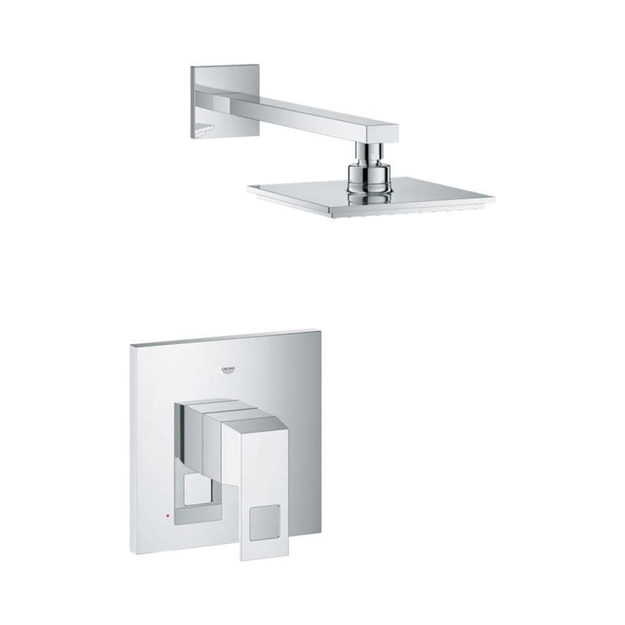 GROHE Eurocube Starlight Chrome 1-Handle Shower Faucet Trim Kit with Single Function Showerhead