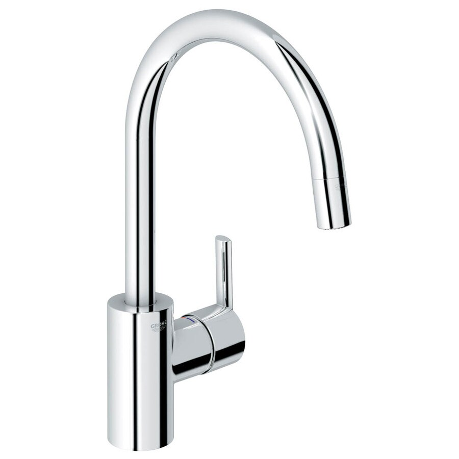 Shop GROHE Feel Starlight Chrome 1-Handle Pull-Down Kitchen Faucet ...