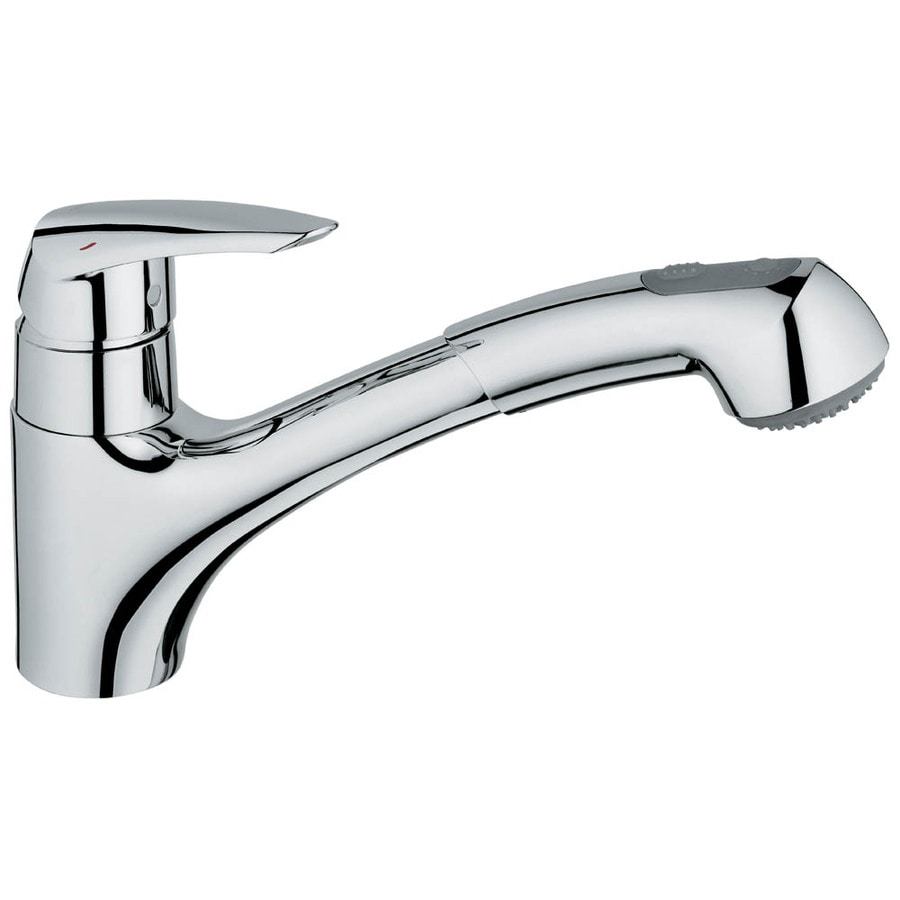 Shop GROHE Curve Starlight Chrome 1-Handle Pull-Out Kitchen Faucet ...