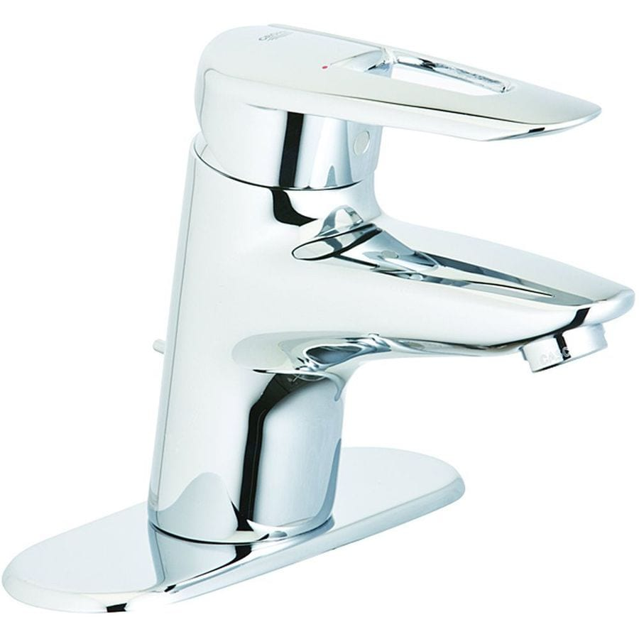 GROHE Sway Starlight Chrome 1-Handle Single Hole Bathroom Sink Faucet (Drain Included)