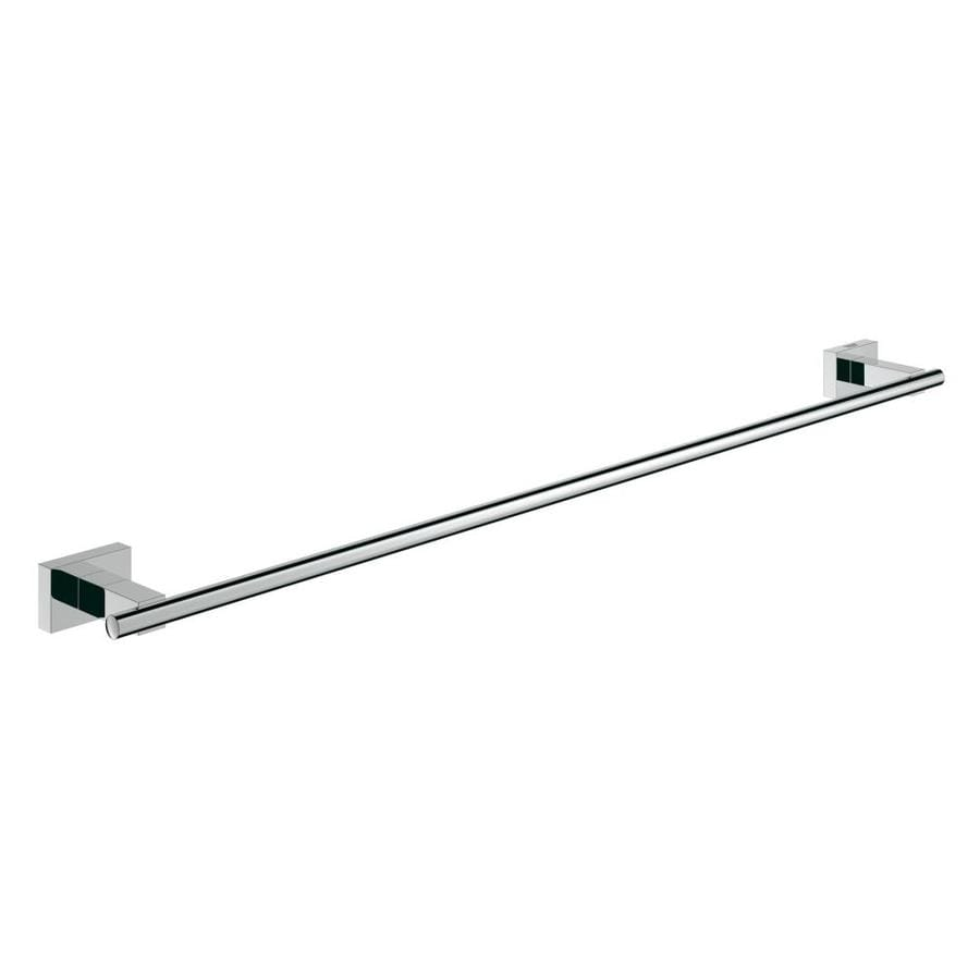 Shop GROHE Essentials Cube Starlight Chrome Single Towel Bar Common 24 In