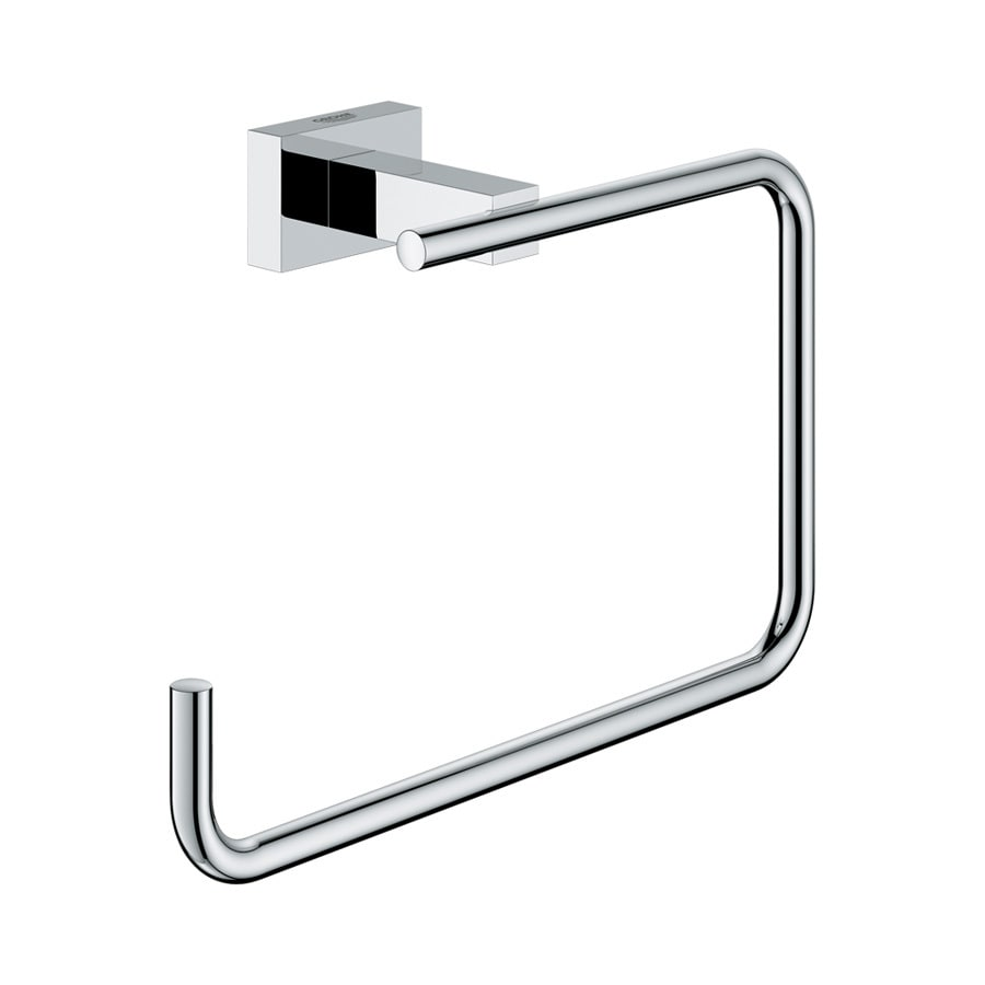 shop grohe essentials cube starlight chrome wall mount towel ring at. Black Bedroom Furniture Sets. Home Design Ideas