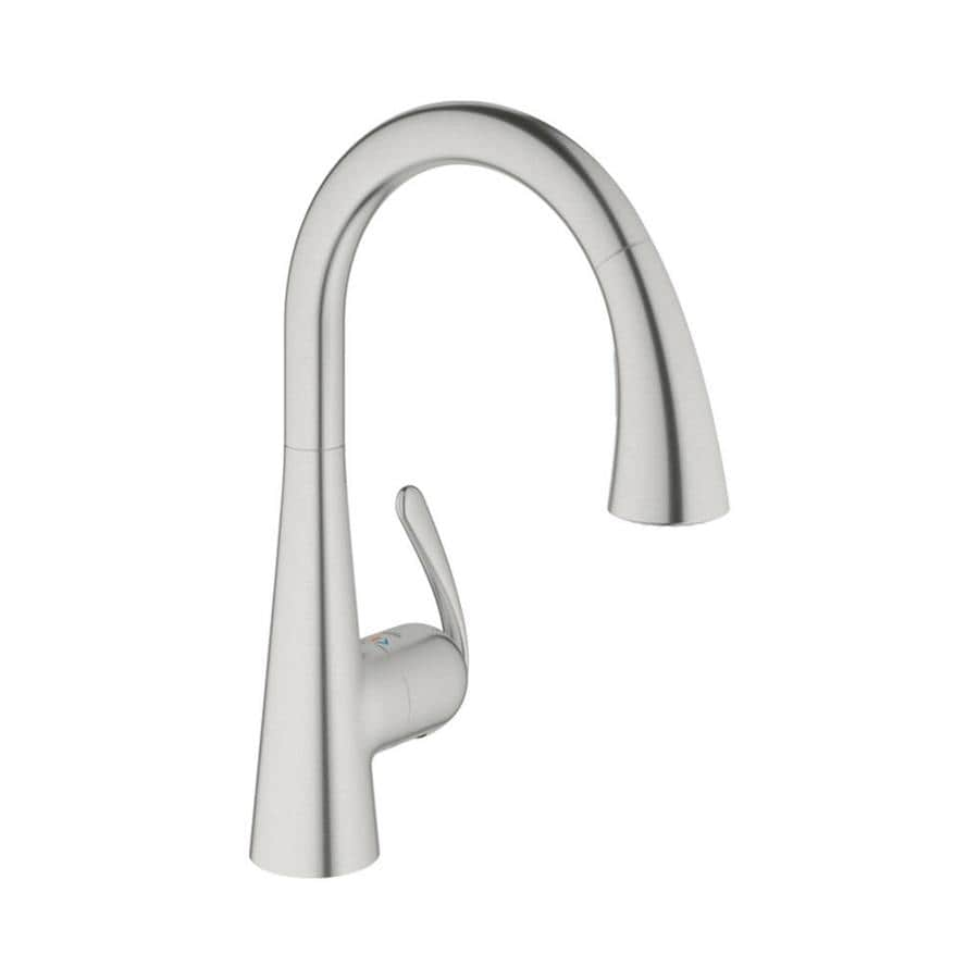 GROHE Ladylux Realsteel 1-Handle Pull-Down Kitchen Faucet