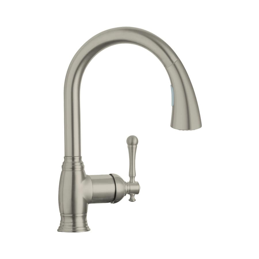 GROHE Bridgeford Brushed Nickel 1-Handle Pull-Down Kitchen Faucet