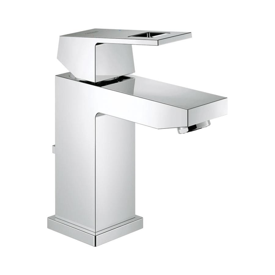 GROHE Eurocube StarLight Chrome 1-Handle Single Hole WaterSense Bathroom Faucet (Drain Included)