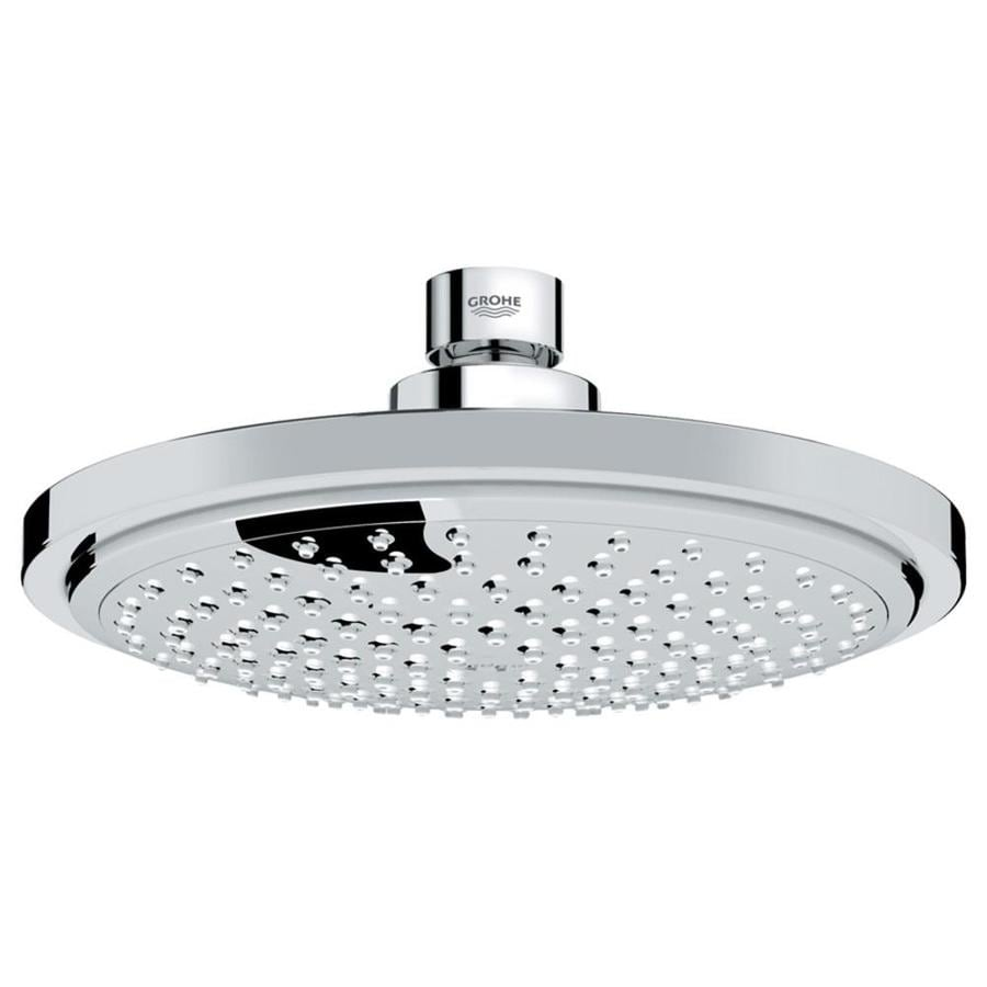 GROHE Euphoria 6.3125-in 2.0-GPM (7.6-LPM) Starlight Chrome 1-Spray Rain Showerhead