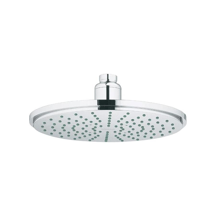 GROHE Rainshower 8-in 2.0-GPM (7.6-LPM) Starlight Chrome 1-Spray Rain Showerhead