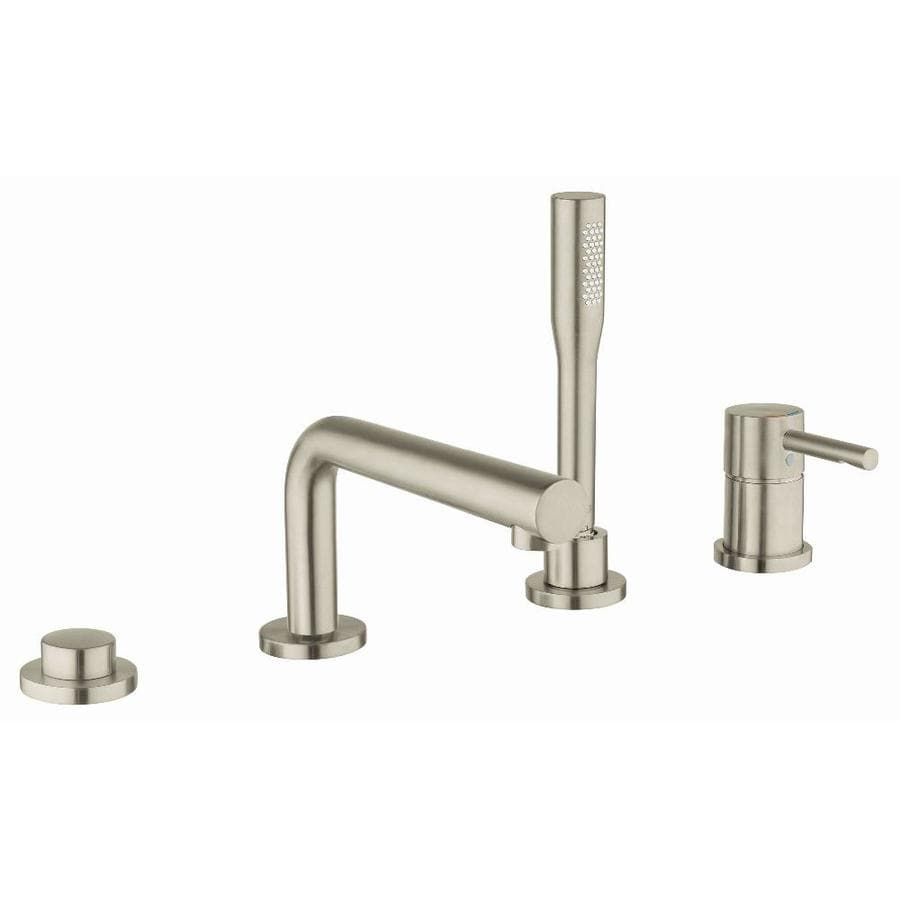 shop grohe essence brushed nickel 1 handle adjustable deck mount bathtub faucet at. Black Bedroom Furniture Sets. Home Design Ideas