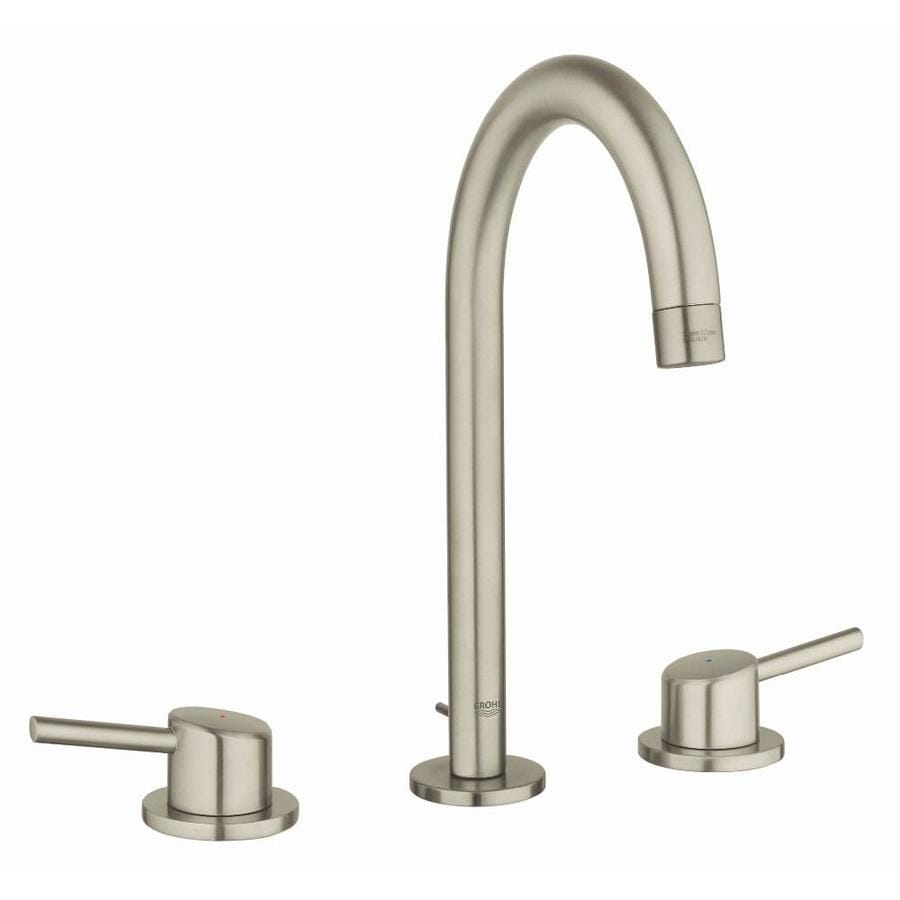 GROHE Concetto Brushed Nickel 2-Handle Widespread WaterSense Bathroom Faucet (Drain Included)
