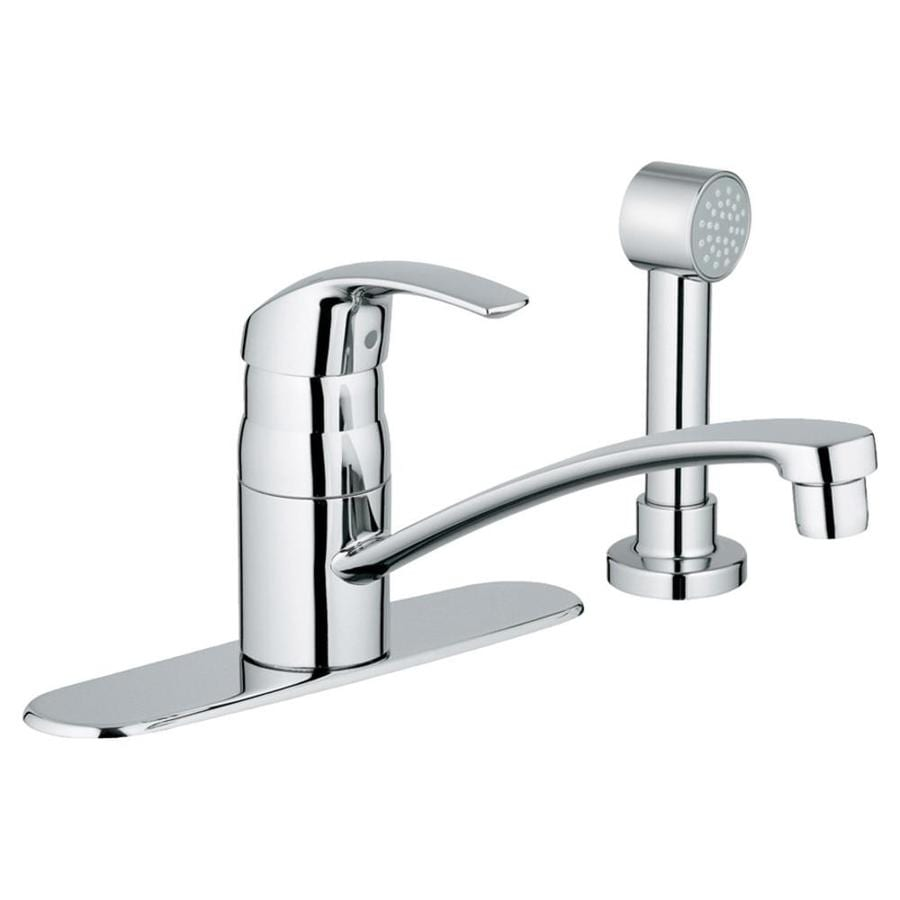 GROHE Eurosmart Starlight Chrome 1-Handle Deck Mount Low-Arc Kitchen Faucet