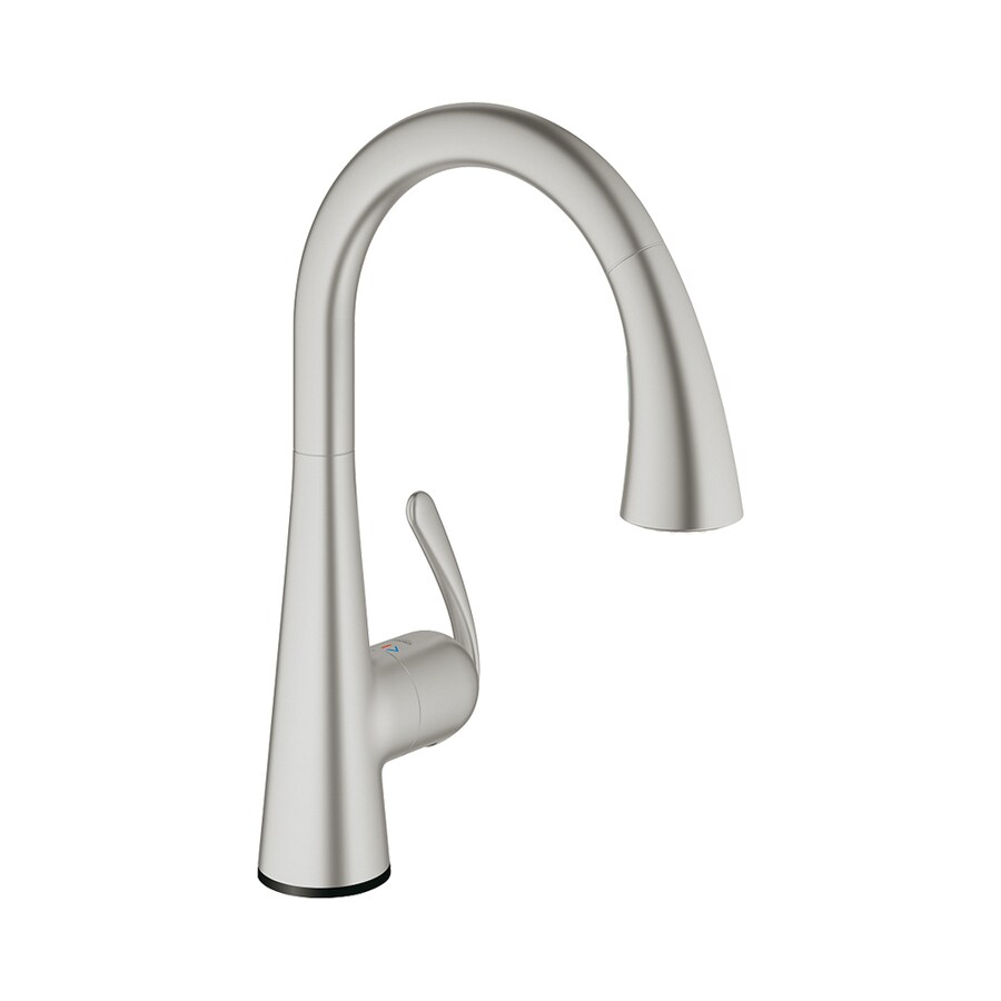 Shop Grohe Ladylux3 Cafe Touch Supersteel 1 Handle Pull Down Kitchen Faucet At