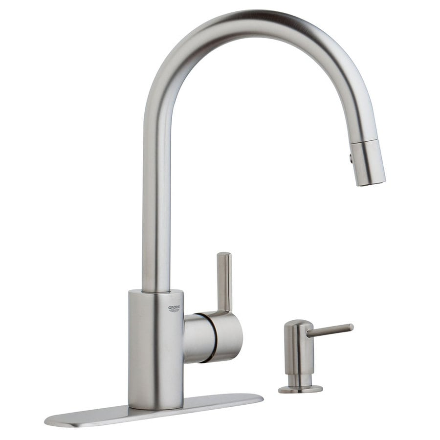 shop grohe feel supersteel infinity 1 handle pull down kitchen faucet at. Black Bedroom Furniture Sets. Home Design Ideas