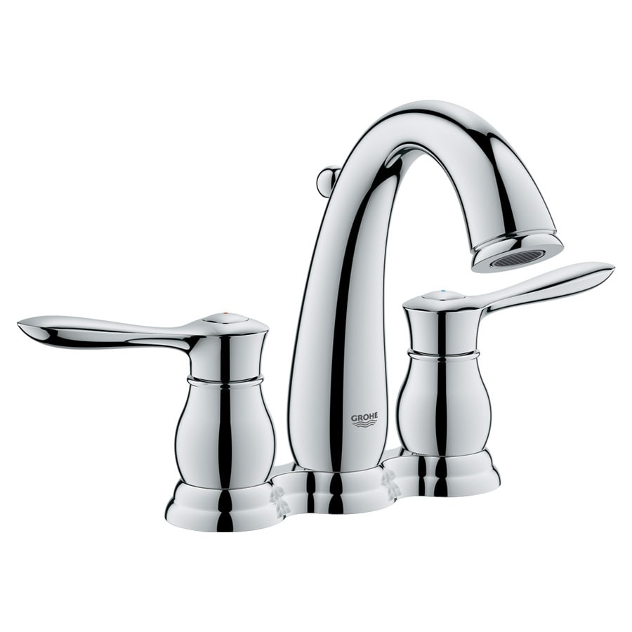 GROHE Parkfield Starlight Chrome 2-Handle 4-in Centerset WaterSense Bathroom Faucet (Drain Included)
