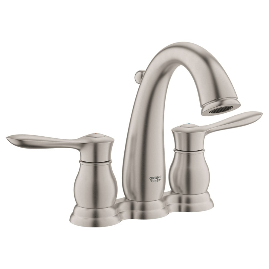 GROHE Parkfield Brushed Nickel 2-Handle 4-in Centerset WaterSense Bathroom Faucet (Drain Included)