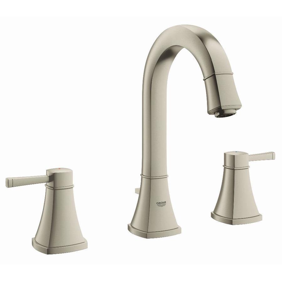 GROHE Grandera Brushed Nickel Infinity 2-Handle Widespread WaterSense Bathroom Faucet (Drain Included)