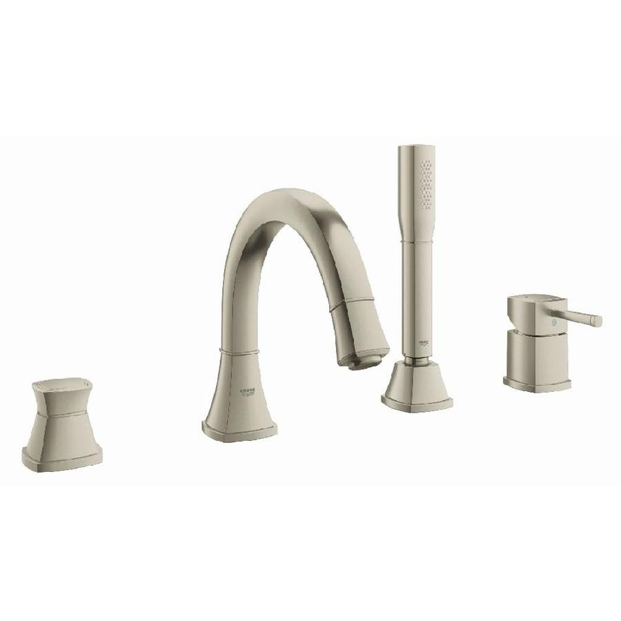 GROHE Grandera Brushed Nickel Infinity 1-Handle Fixed Deck Mount Bathtub Faucet