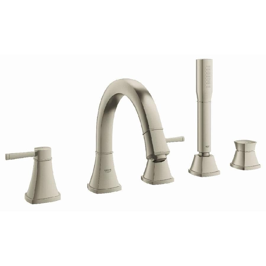 GROHE Grandera Brushed Nickel Infinity 2-Handle Deck Mount Bathtub Faucet