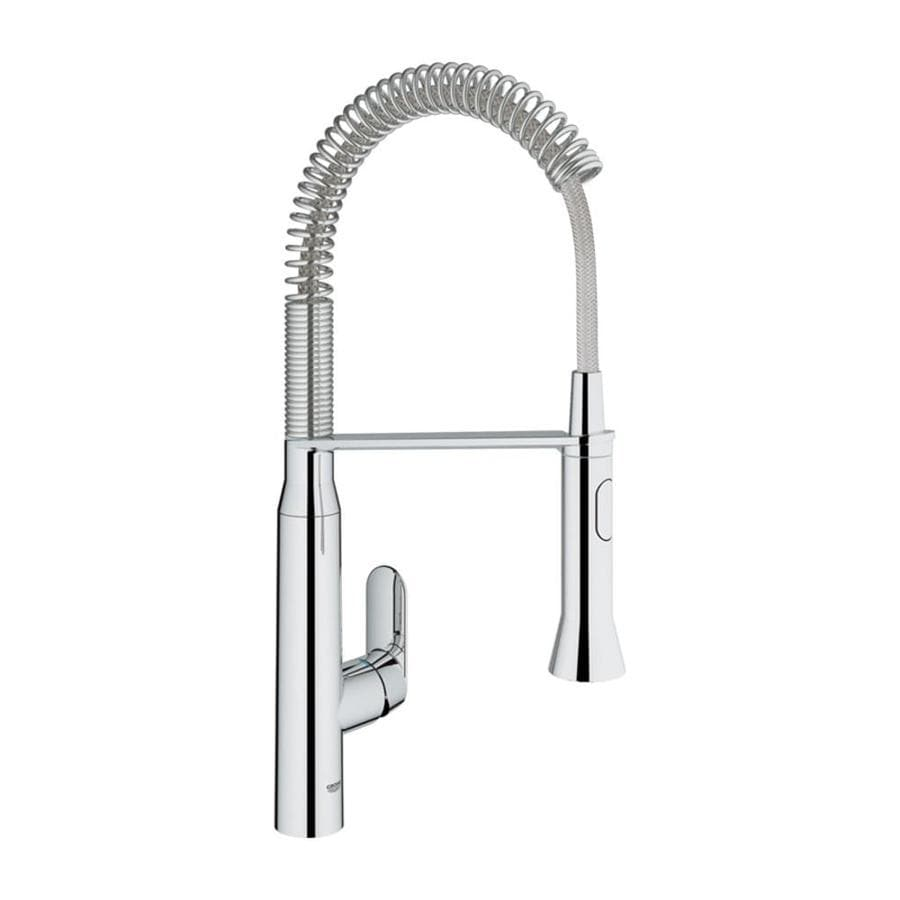 GROHE K7 Starlight Chrome 1-Handle Deck Mount Pre-rinse Kitchen Faucet
