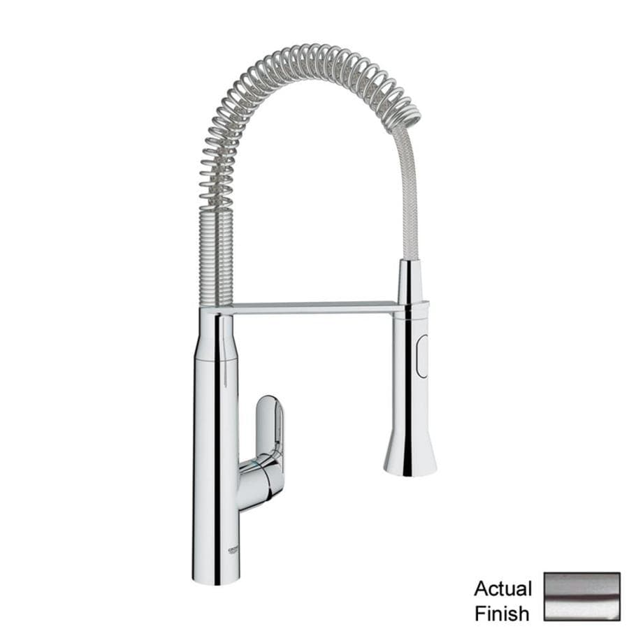 GROHE K7 SuperSteel 1-Handle Deck Mount Pre-rinse Kitchen Faucet