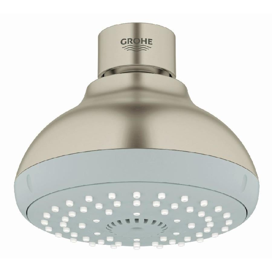 GROHE New Tempesta IV 4-in 2.0-GPM (7.6-LPM) Brushed Nickel 4-Spray WaterSense Showerhead