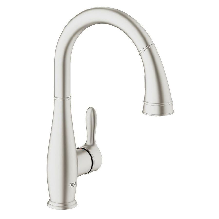 Shop grohe parkfield supersteel 1 handle high arc kitchen for Grohe faucets