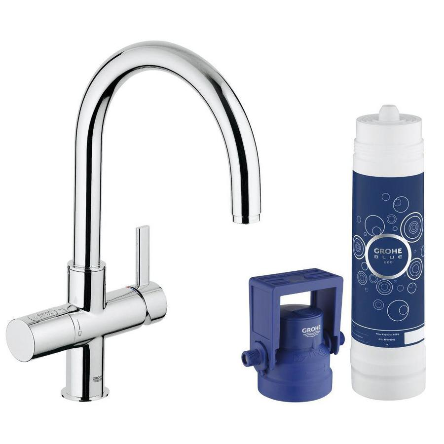 shop grohe blue chrome 1 handle deck mount high arc kitchen faucet at. Black Bedroom Furniture Sets. Home Design Ideas