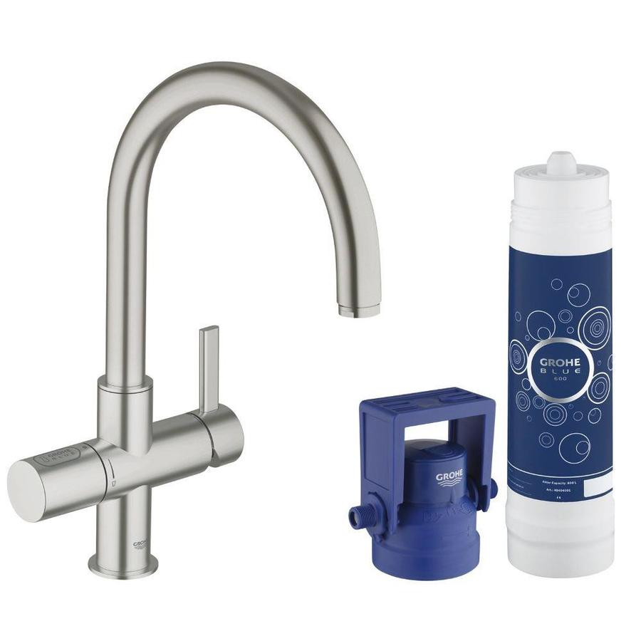 GROHE GROHE Blue Super Steel 1-Handle Deck Mount High-Arc Kitchen Faucet