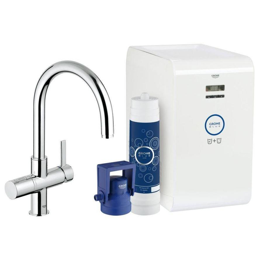 GROHE Blue Chrome 1-Handle Deck Mount High-Arc Kitchen Faucet