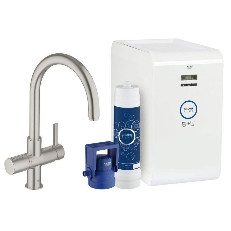 shop grohe blue super steel 1 handle deck mount high arc kitchen faucet at. Black Bedroom Furniture Sets. Home Design Ideas