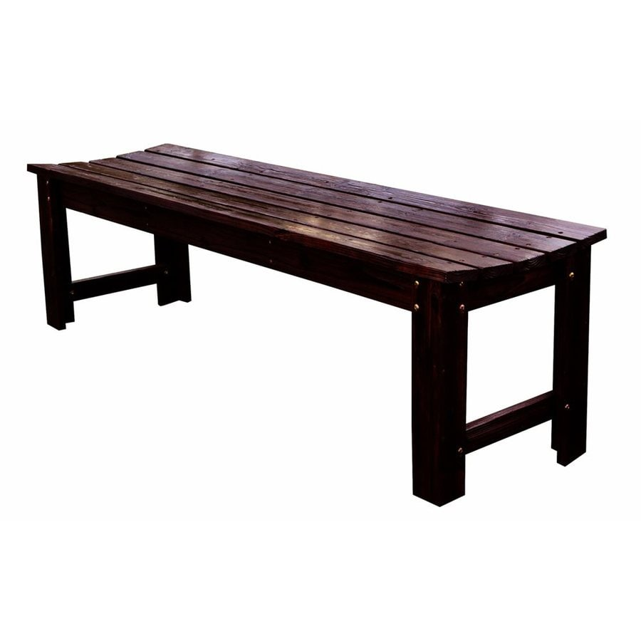 Shine Company 17-in W x 60-in L Burnt Brown Cedar Patio Bench