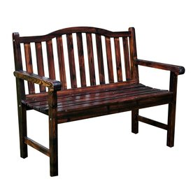 Shine Company 22 In W X 44.75 In L Burnt Brown Cedar Patio Bench