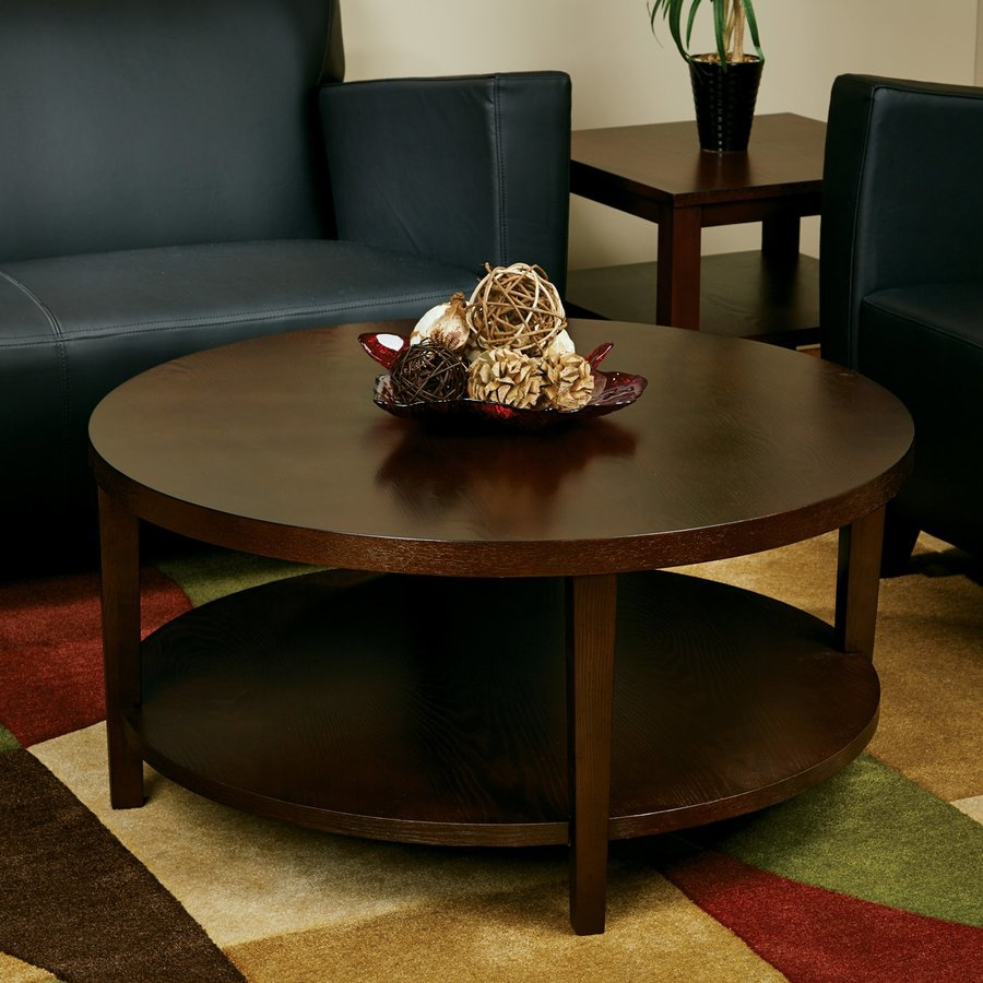 Office Star Avenue Six Espresso Round Coffee Table
