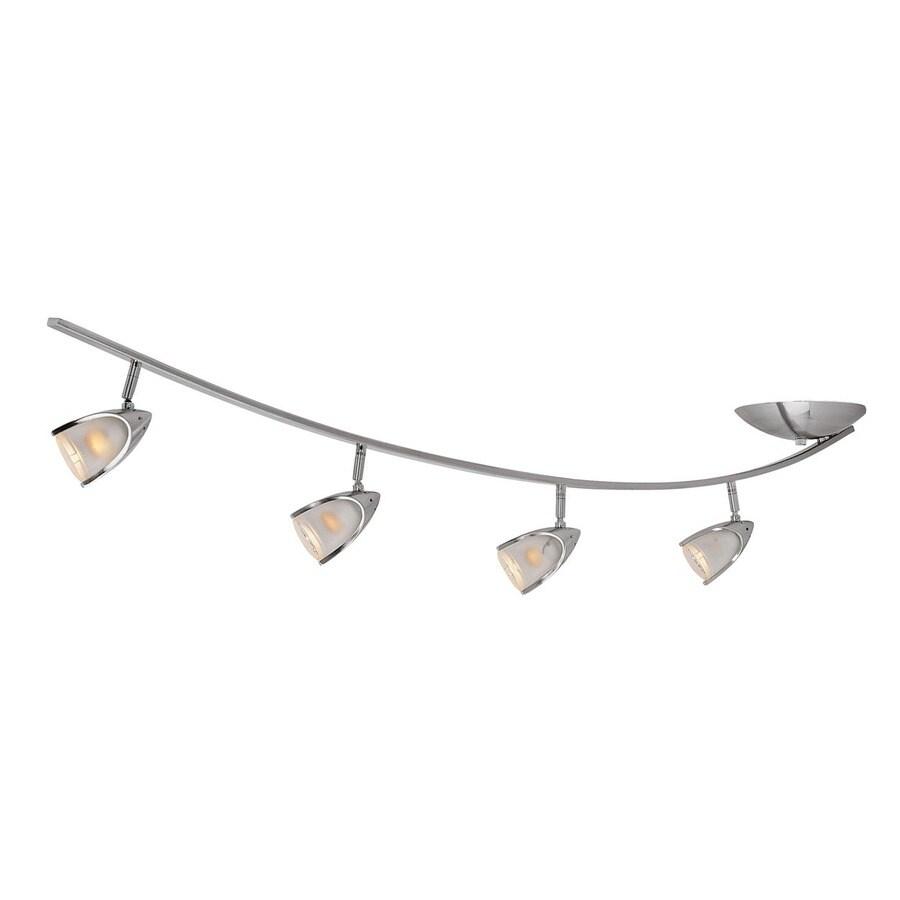 Access Lighting Comet 4-Light 53.5-in Brushed Steel Glass Pendant Linear Track Lighting Kit