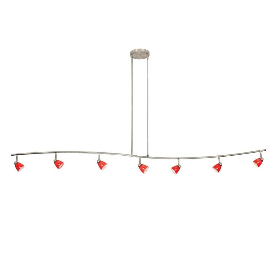 Cal Lighting Serpentine 7-Light 80-in Brushed Steel Glass Pendant Linear Track Lighting Kit