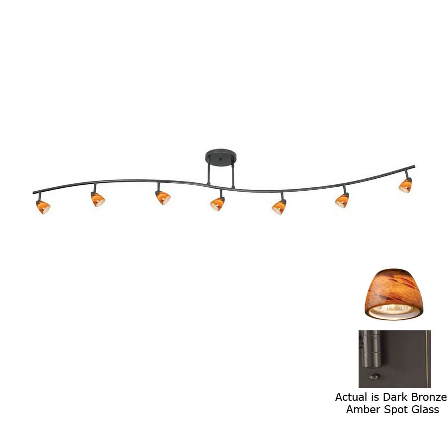 Cal Lighting Serpentine 7-Light 80-in Dark Bronze Glass Pendant Linear Track Lighting Kit