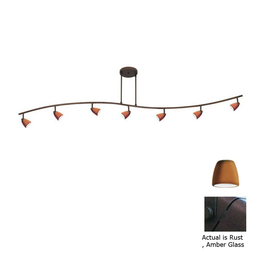 Cal Lighting Serpentine 7-Light 80-in Rust Glass Pendant Linear Track Lighting Kit