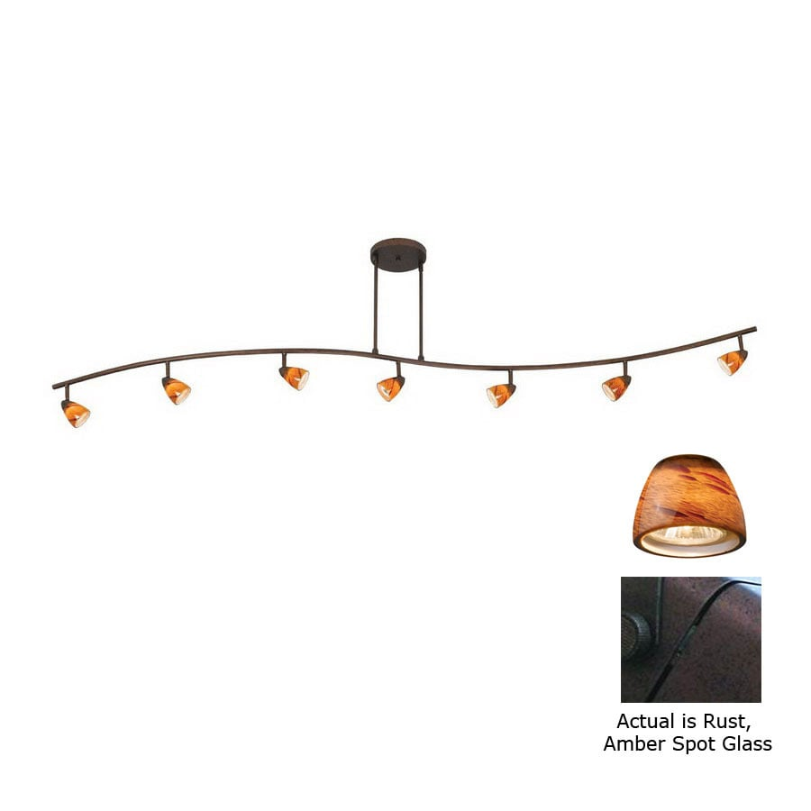 Cal Lighting Serpentine 7-Light 80-in Rust Dimmable Glass Pendant Linear Track Lighting Kit