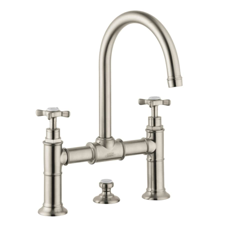 Hansgrohe Montreux Brushed Nickel 2-Handle Widespread WaterSense Bathroom Faucet (Drain Included)