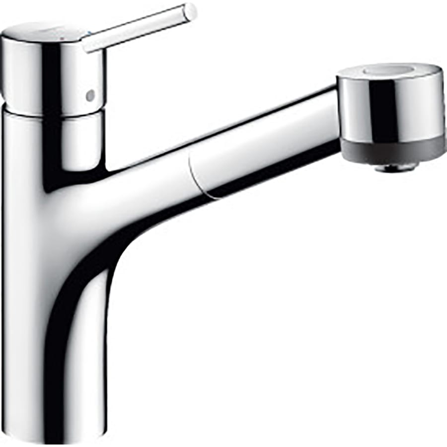 hans grohe kitchen faucets shop hansgrohe hg kitchen chrome 1 handle pull out kitchen faucet at lowes com 7651