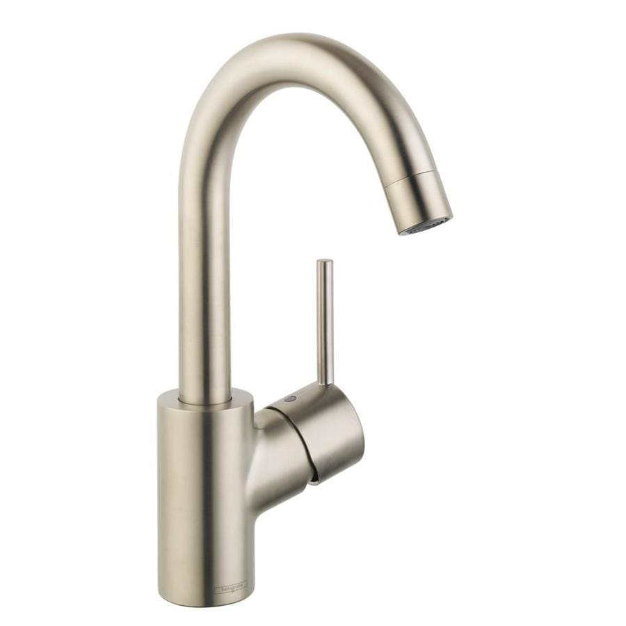 Hansgrohe Talis S Brushed Nickel 1-Handle Single Hole WaterSense Bathroom Faucet (Drain Included)