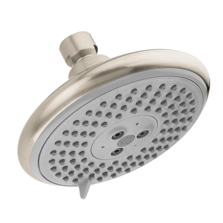 Shop Hansgrohe HG 5 In 2 5 GPM 9 5 LPM Brushed Nickel 3 Spray Rain Showerhe