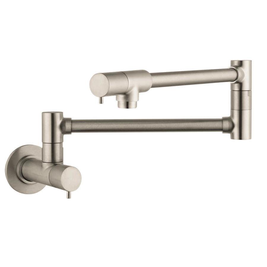 Shop Hansgrohe Hg Kitchen Steel Optik 2 Handle Wall Mount Pot Filler Kitchen Faucet At