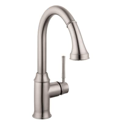 HG Kitchen Steel Optik 1-handle Deck Mount Pull-down Kitchen Faucet