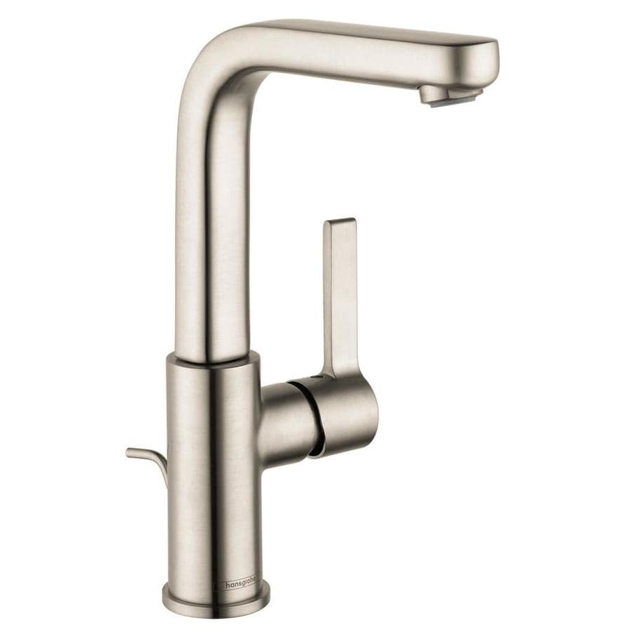 shop hansgrohe metris s brushed nickel 1 handle single hole bathroom faucet drain included at. Black Bedroom Furniture Sets. Home Design Ideas