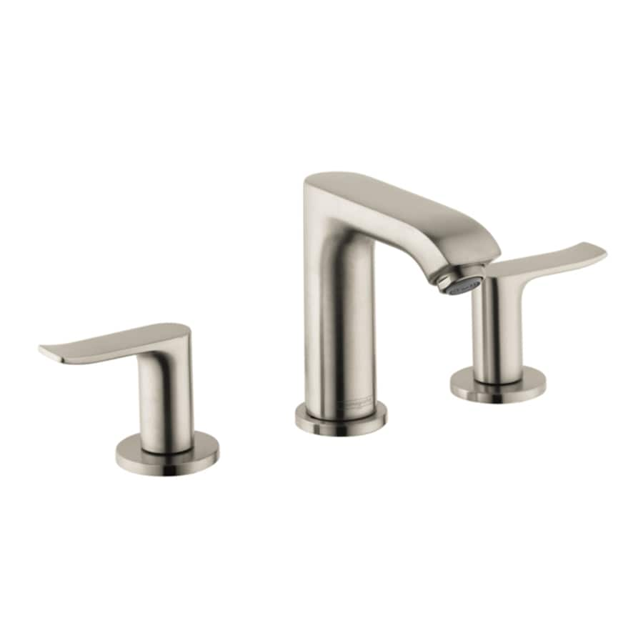 shop hansgrohe metris brushed nickel 2 handle widespread watersense bathroom faucet drain. Black Bedroom Furniture Sets. Home Design Ideas