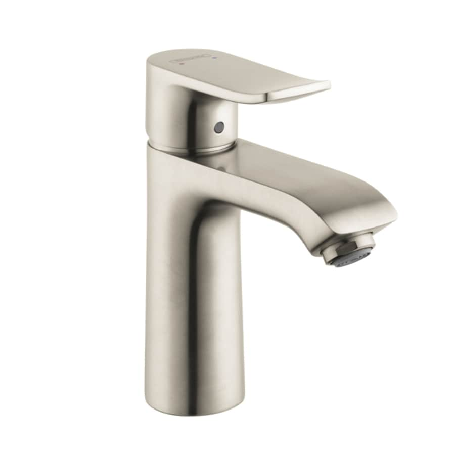 shop hansgrohe metris brushed nickel 1 handle single hole bathroom sink faucet at. Black Bedroom Furniture Sets. Home Design Ideas