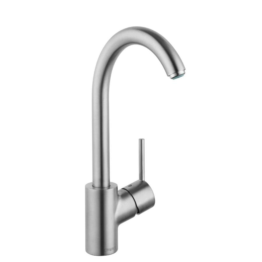hans grohe kitchen faucets hansgrohe talis s steel optik 1 handle high arc kitchen faucet at lowes com 7816