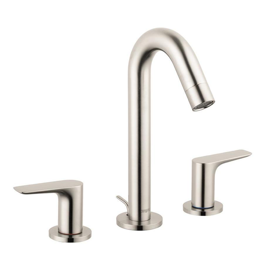 lovely Hansgrohe Single Handle Bathroom Faucet Part - 16: Hansgrohe Logis 150 8-in Widespread 2-Handle Bathroom Faucet with Drain in  Brushed