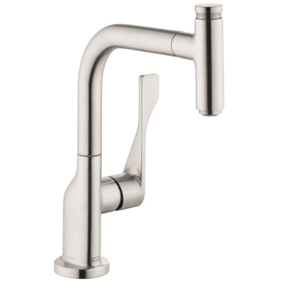 hans grohe kitchen faucets hansgrohe axor steel optic 1 handle pull out kitchen faucet at lowes com 3950